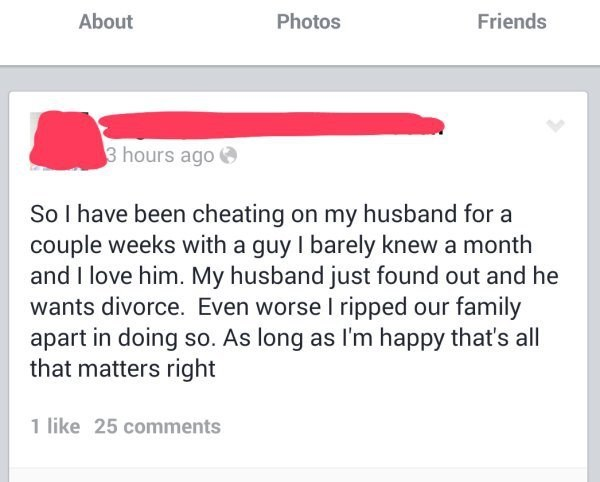 Woman saying she has cheated on her husband and now he found out but the main thing is that she is happy