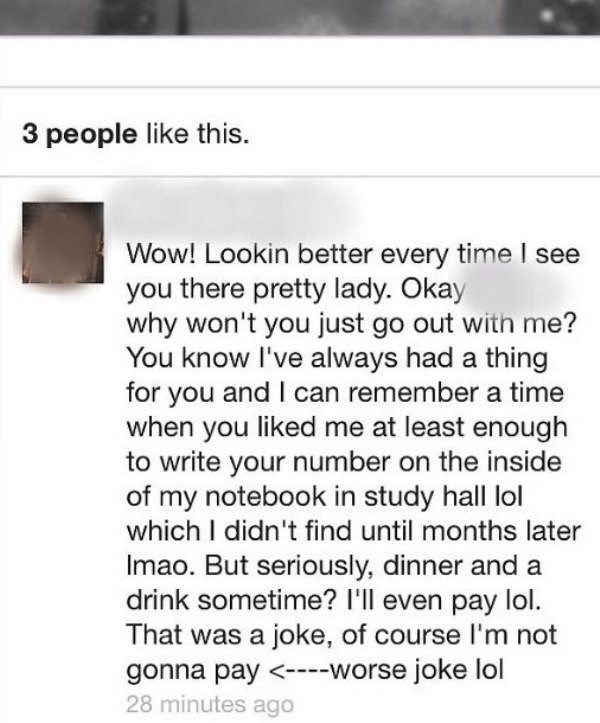 Cringe message to a woman.