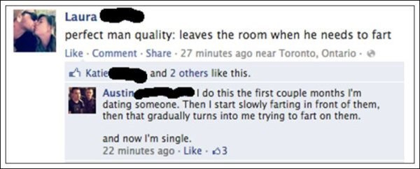 Facebook post about men farting in front of women, and man give honest answer
