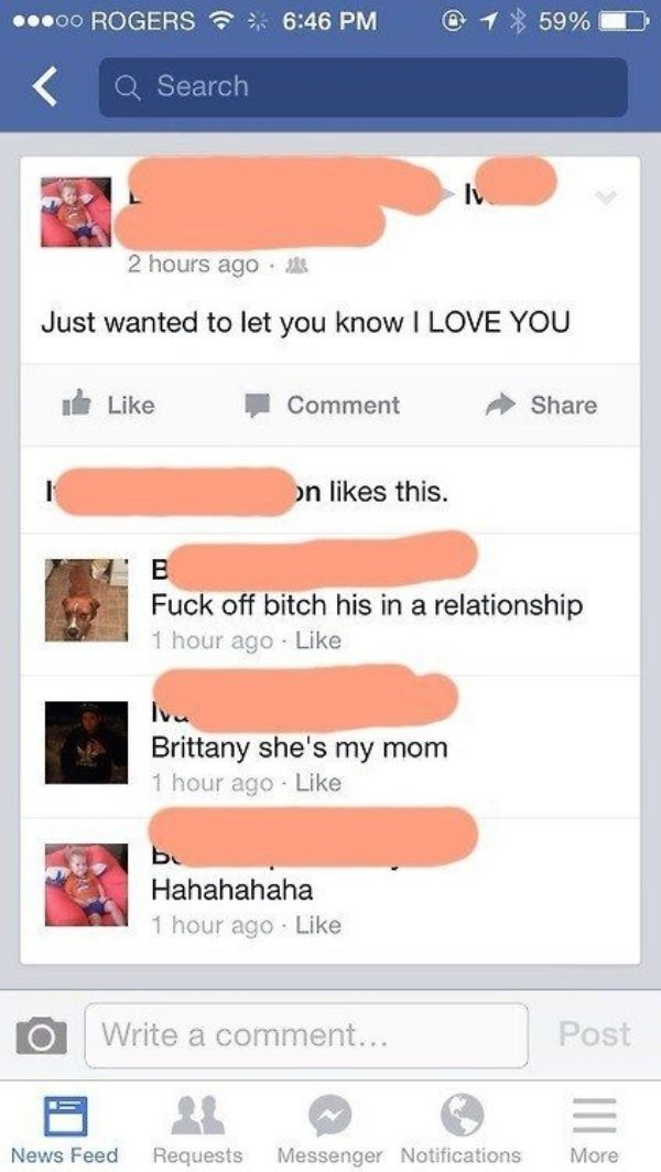 Mom tells son she loves him, and girlfriend tells her off brutally, then learns it is his mom.