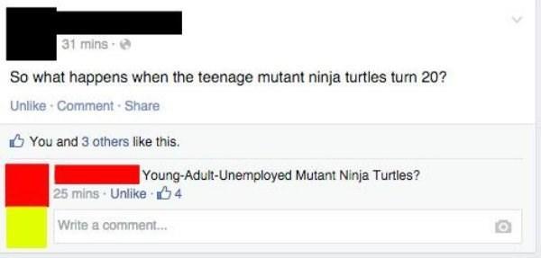 Teenaged Mutant Ninja Turtles meme about when they get older