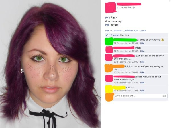 Girl claims photo is not photoshopped and her hair is purple and eyes are green