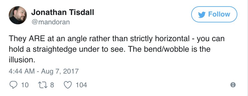 Jonathan Tisdall tweets that the lines of the optical illusion are not horizontal.