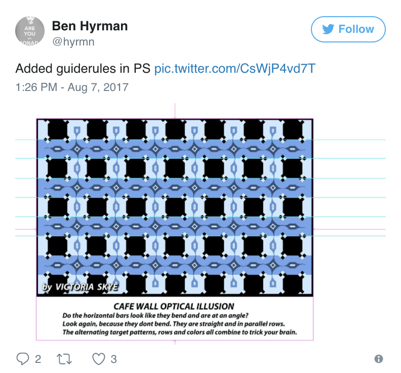 Ben Hyman tweet a version with photoshopped guidelines to see a bit easier that indeed they are horizontal.