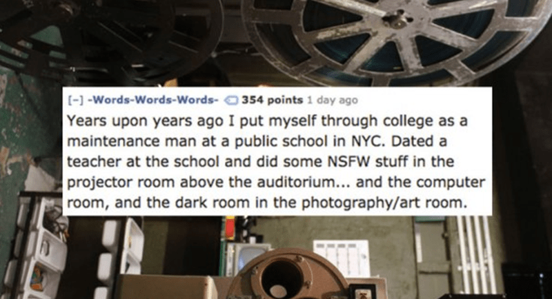 funny story of maintenance worker who dated a teacher.