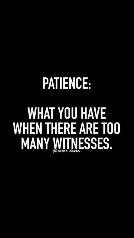 quote - Text - PATIENCE: WHAT YOU HAVE WHEN THERE ARE TOO MANY WITNESSES. @REBEL OROUS