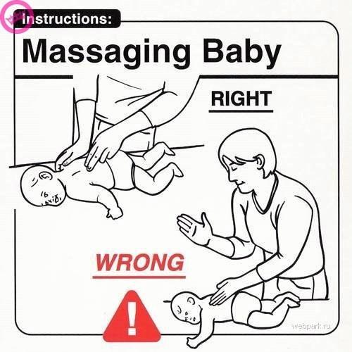 parenting manual - Line art - Instructions: |Massaging Baby RIGHT WRONG webpark.ru