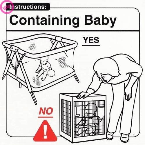 parenting manual - Line art - Instructions: Containing Baby YES NO ru