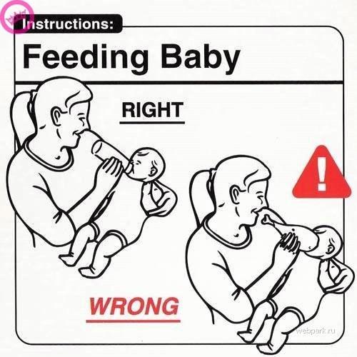 parenting manual - Text - Instructions: Feeding Baby RIGHT WRONG webpark.ru