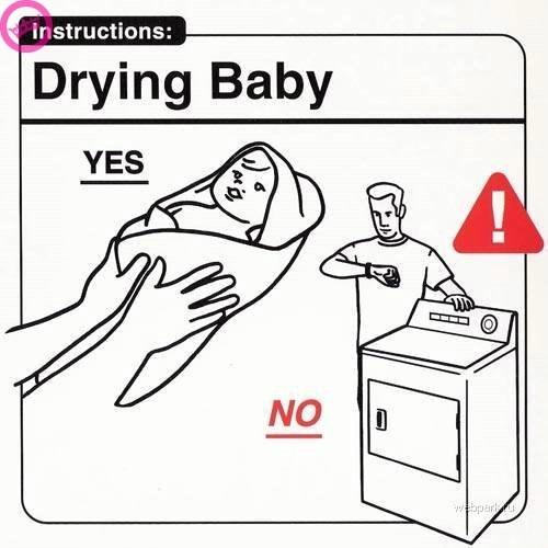 parenting manual - Coloring book - Instructions: |Drying Baby YES NO etapar