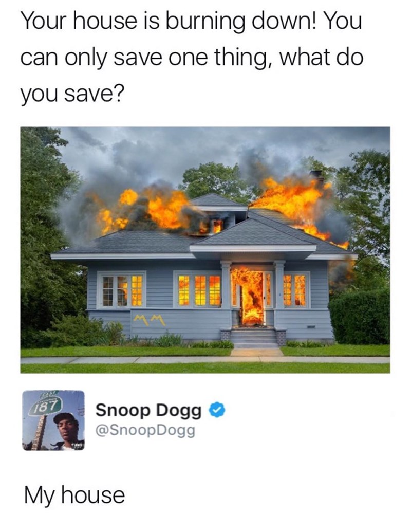 Funny meme about Snoop Dogg saving his house from being on fire in response to what he would save if he could only ave one thing from a fire.