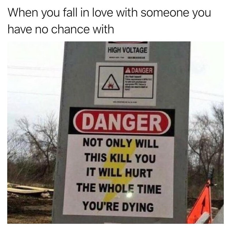 Text - When you fall in love with someone you have no chance with HIGH VOLTAGE ADANGER DANGER NOT ONLY WILL THIS KILL YOU IT WILL HURT THE WHOLE TIME YOU'RE DYING
