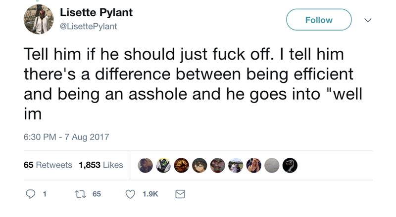 """Text - Lisette Pylant Follow @LisettePylant Tell him if he should just fuck off. I tell him there's a difference between being efficient and being an asshole and he goes into """"well im 6:30 PM-7 Aug 2017 65 Retweets 1,853 Likes t65 1.9K 1"""