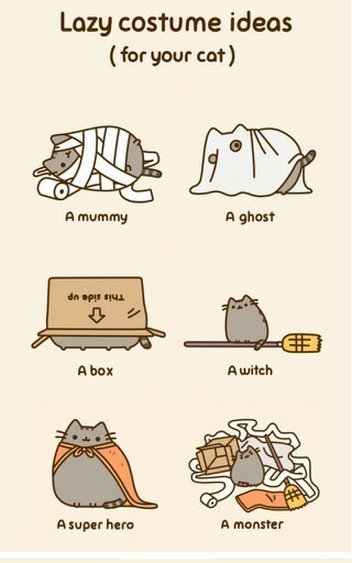 Text - Lazy costume ideas (for your cat) A ghost A mummy dn opis su Awitch A box A super hero A monster