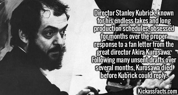 Fact about Stanley Kubrick taking too long to answer letter from Akira Kurosawa