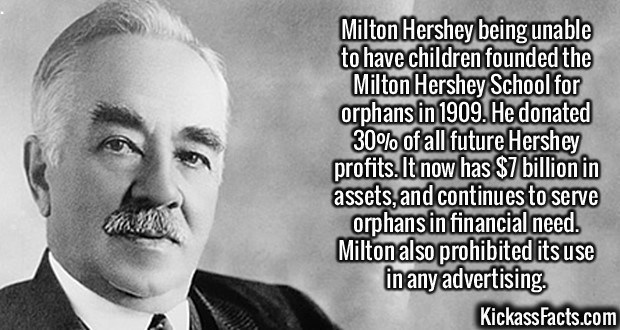 Fact about the founder of Hershey donating money to orphans