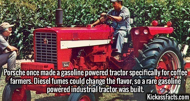 Fact about using a special tractor to farm coffee