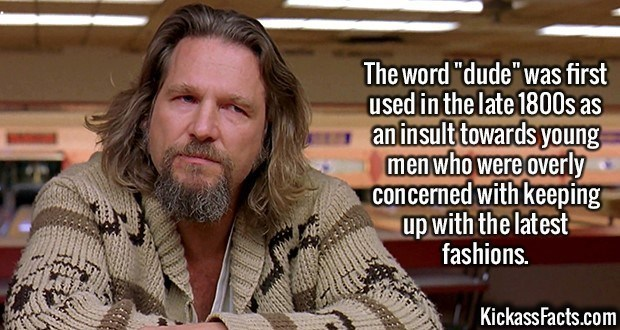 """Fact about the origin of the word """"dude"""" with pic of Jeff Bridges in the movie The Big Lebowski"""