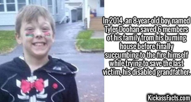Fact about a child who dies saving his family from a fire
