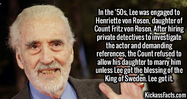 Fact about the lengths Christopher Lee went to marry his wife