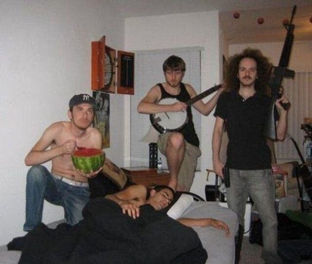 cursed image-man sleeping and surrounded by men doing random things around him
