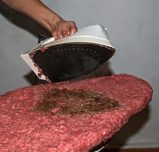cursed image-ground beef getting ironed on an ironing board