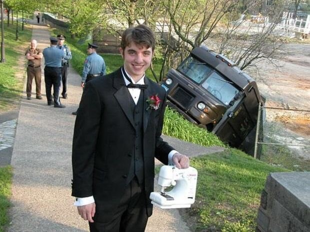 cursed image-man smiling in a prom suit near a bus that crashed