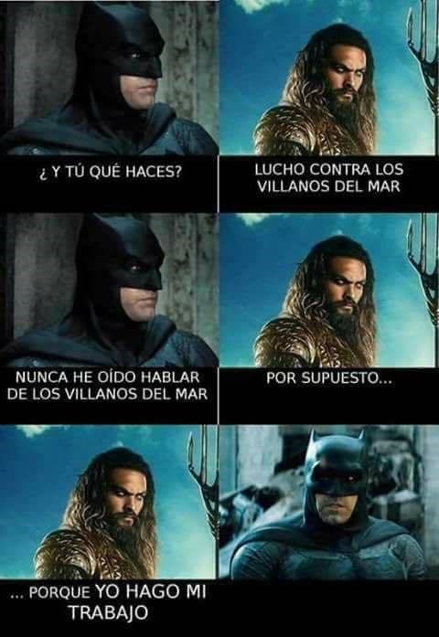 aquaman le dice a batman que no hay villanos del mar