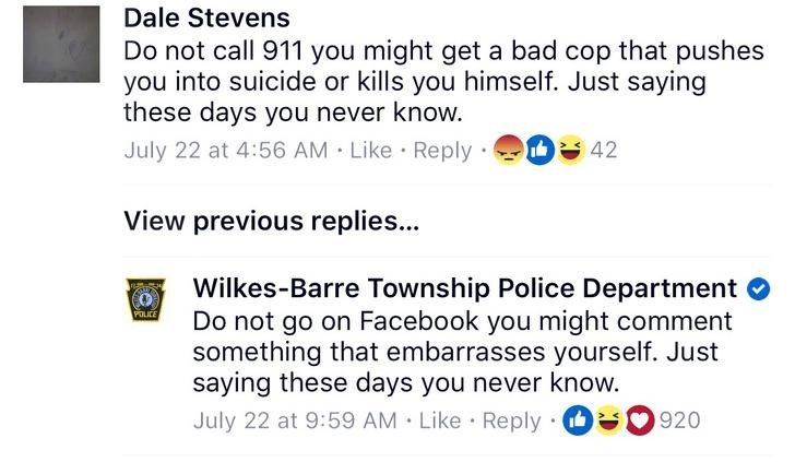 That sassy Wilkes-Barre Township Police Department page on facebook is at it again.