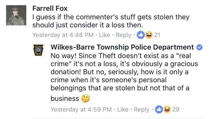 Screen shot of rant by Wilkes-Barre Township Police Department about shoplifting.