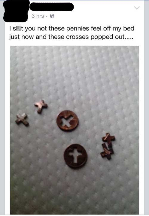 pennies with crosses cut out you not these pennies feel off my bed just now and these crosses popped out..