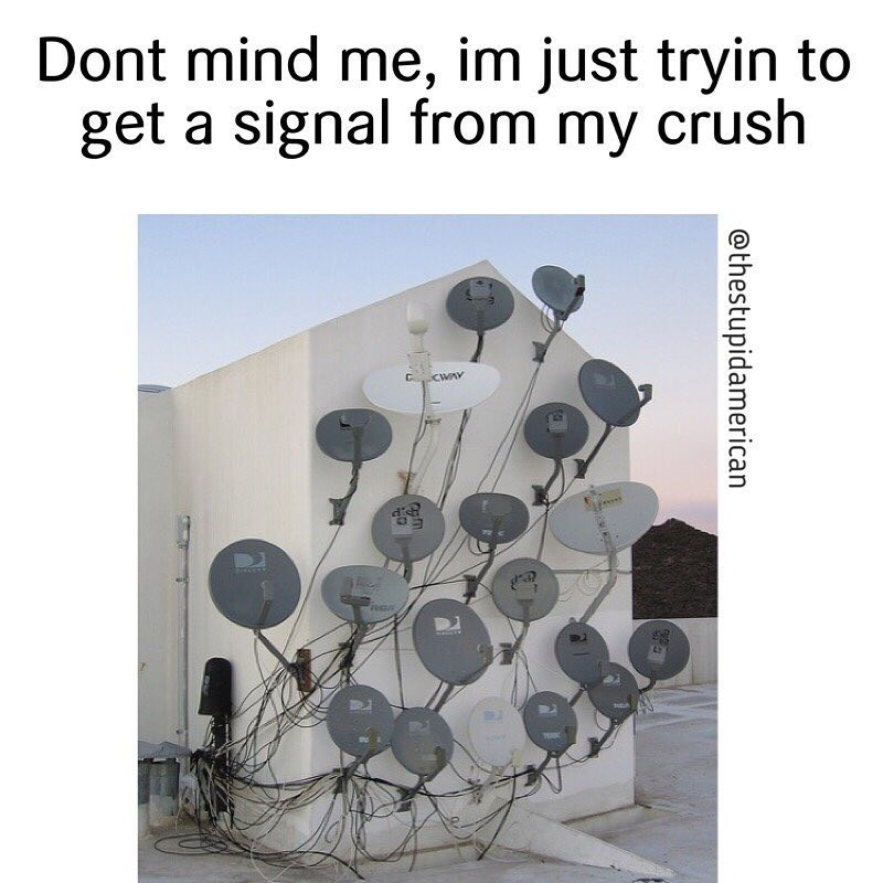 Funny meme about trying to get a signal from your crush.
