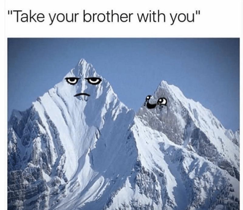 "meme - Mountainous landforms - ""Take your brother with you"""