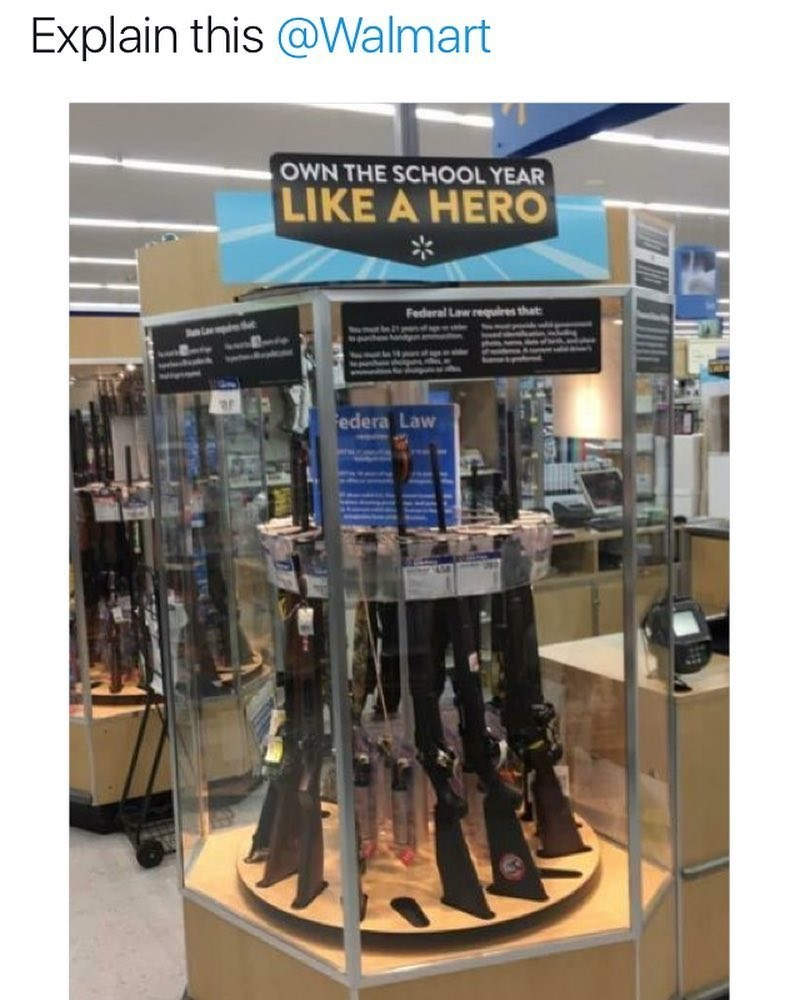 Funny meme about WAlmart selling guns under a back to school sign.