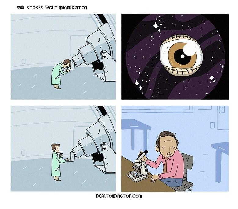 cientifico mira a traves de su microscopio
