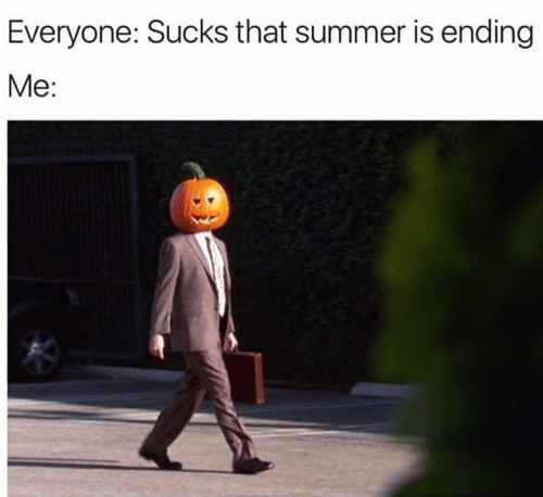 Animated cartoon - Everyone: Sucks that summer is ending Me: