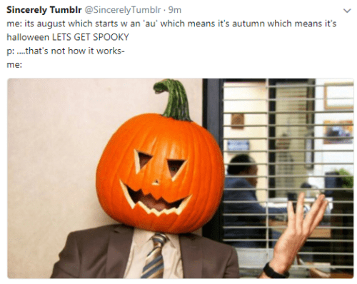 Calabaza - Sincerely Tumblr @SincerelyTumblr 9m me: its august which starts w an 'au' which means it's autumn which means it's halloween LETS GET SPOOKY p: ..that's not how it works- me: