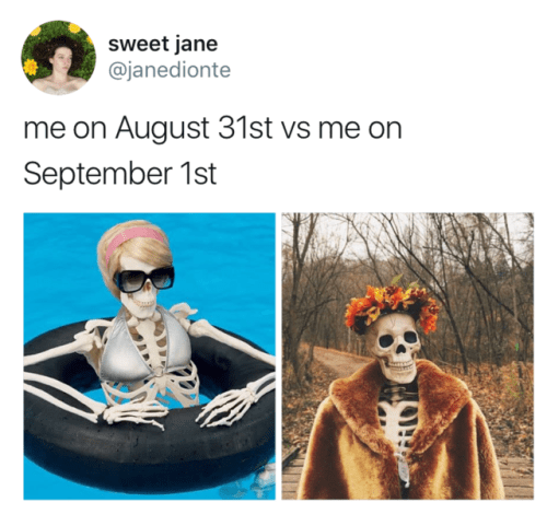 Head - sweet jane @janedionte me on August 31st vs me on September 1st