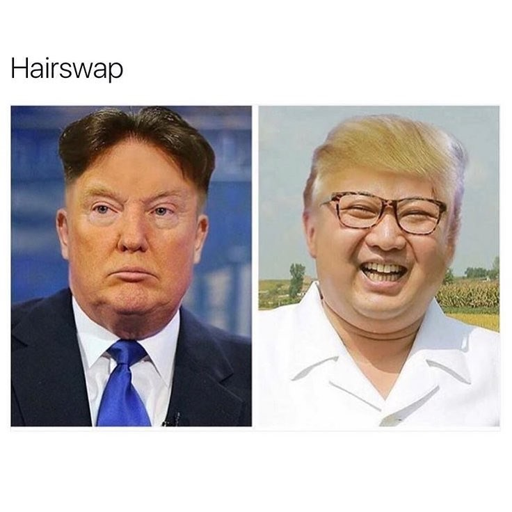 Funny meme of hair swap between kim jong un and donald trump.