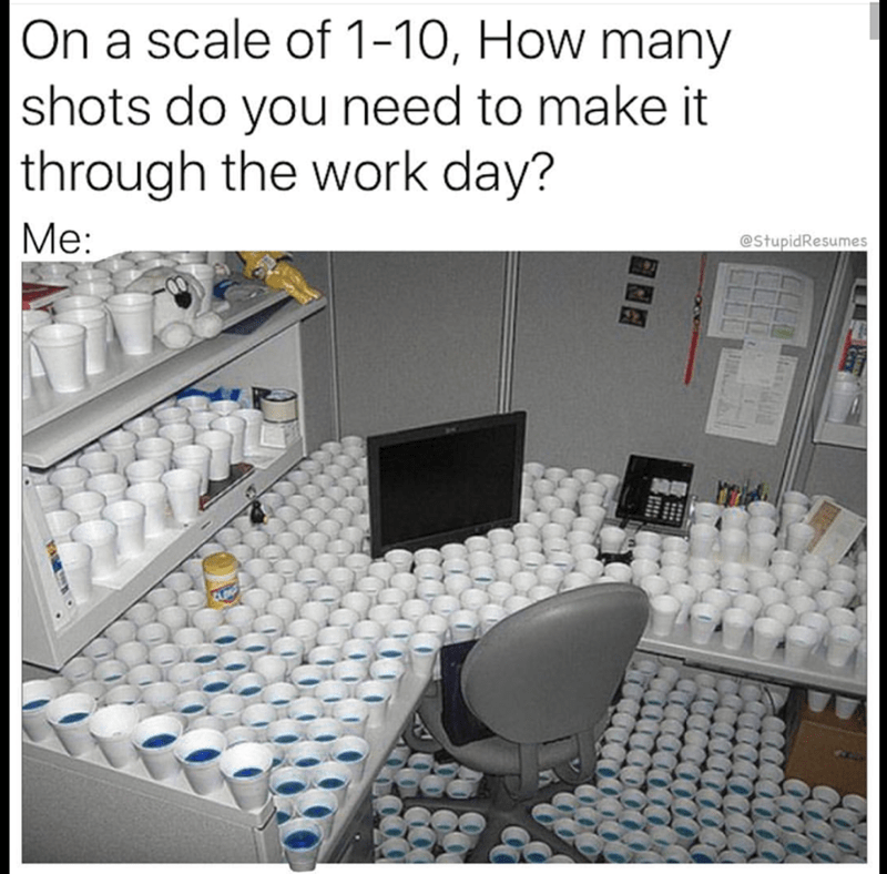 Product - On a scale of 1-10, How many  shots do you need to make it  through the work day? Ме: Me: @StupidResumes