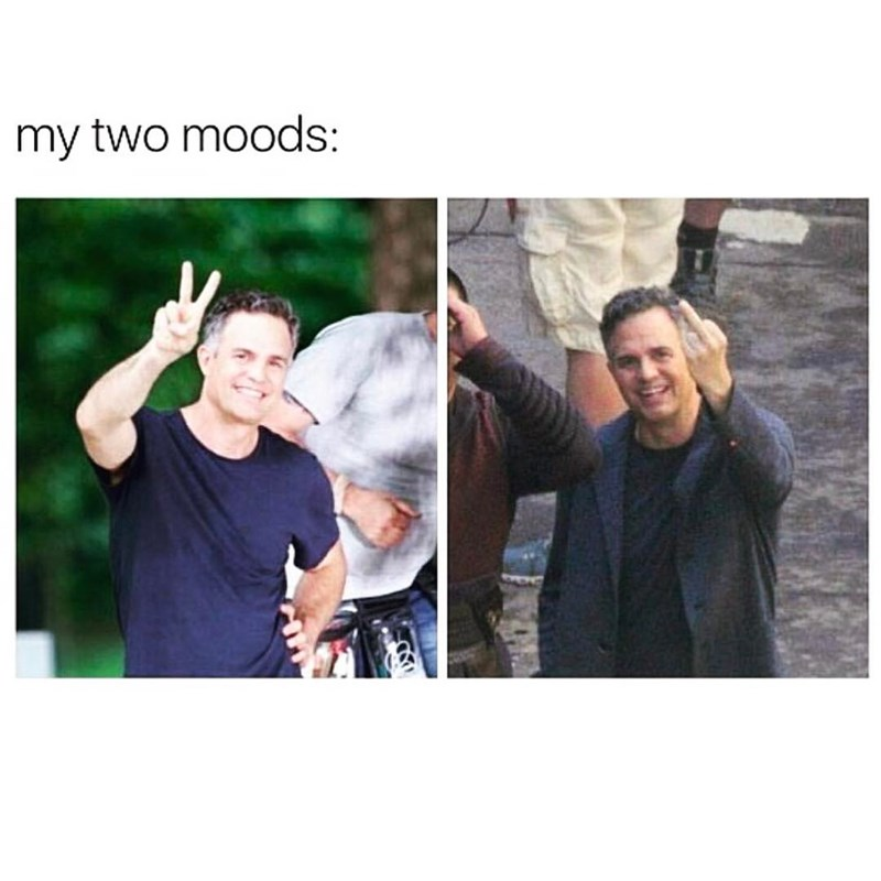 Funny meme about having only two moods, middle finger and peace sign photos mark ruffalo.