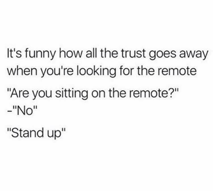 Funny meme about tv remotes and trust.