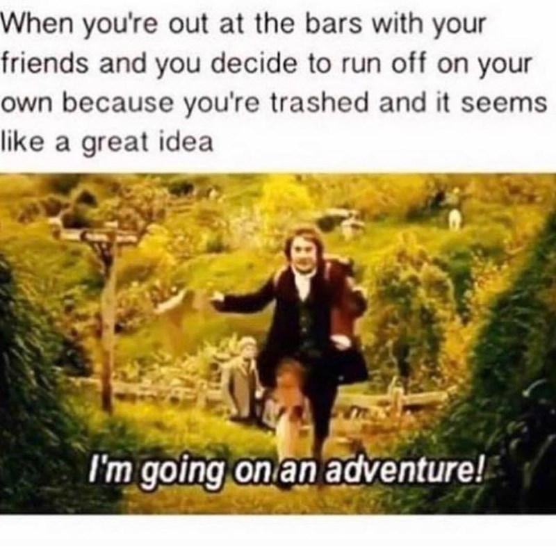 Funny meme about going off on your own adventure when drunk.