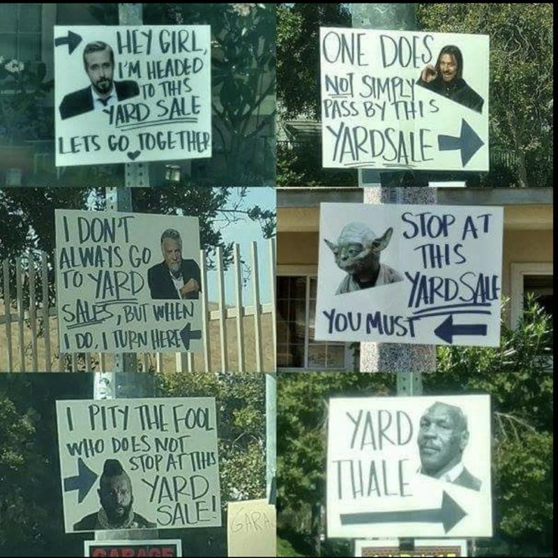 funny meme yardsale signs