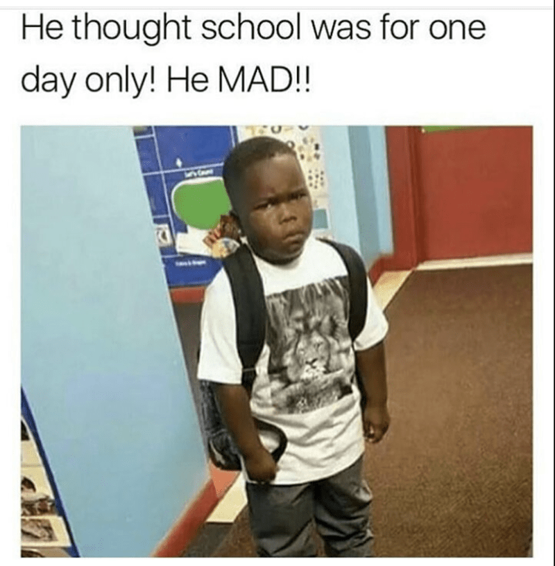 funny meme of a black kid frowning in anger because he just found out school is everyday, and he has to go back tomorrow
