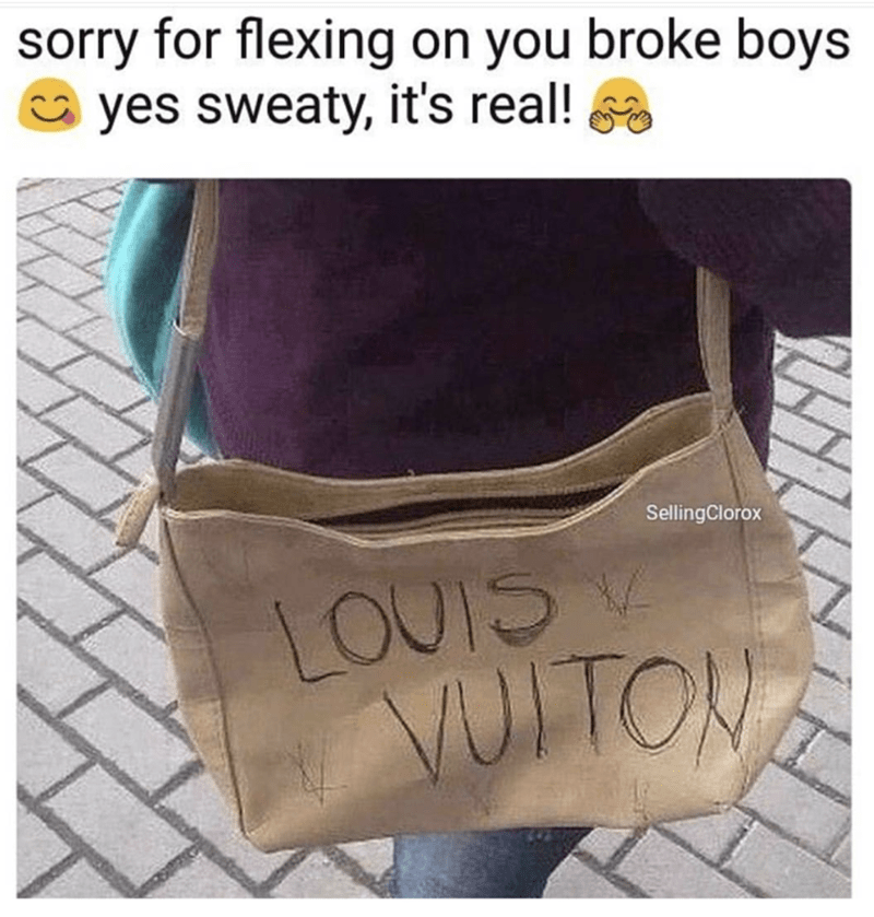 scrappy looking bag with pen writing on it that says Louis Vuiton