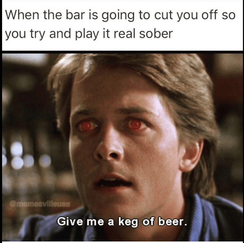 Teen Wolf meme with Michael J Fox with glowing red eyes asking for a keg of beer