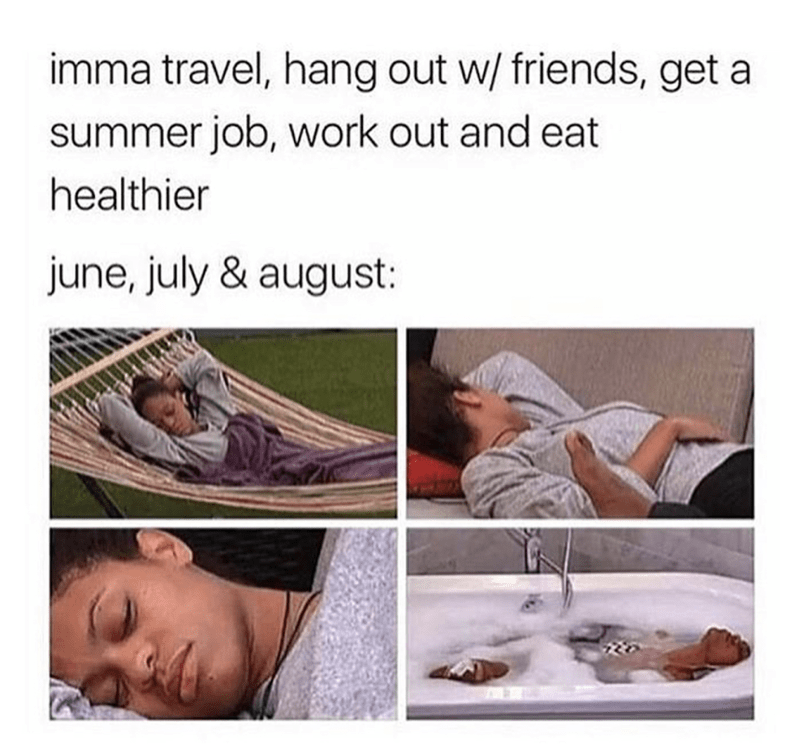 meme about making bit summer plans and then just resting the whole time