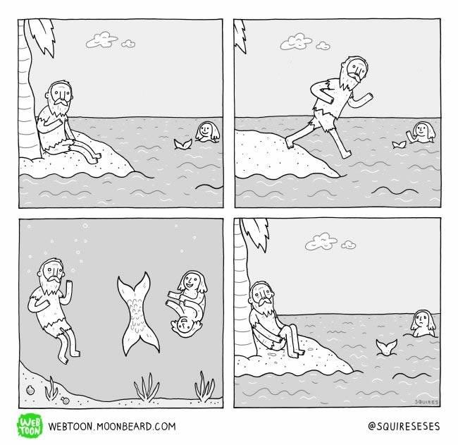 paraoja de una sirena cola y cuerpo