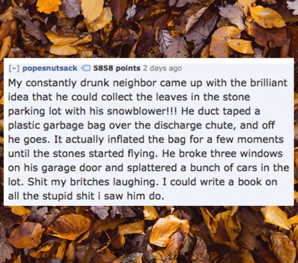 Leaf - [- popesnutsack 5858 points 2 days ago My constantly drunk neighbor came up with the brilliant idea that he could collect the leaves in the stone parking lot with his snowblower!!! He duct taped a plastic garbage bag over the discharge chute, and off he goes. It actually inflated the bag for a few moments until the stones started flying. He broke three windows on his garage door and splattered a bunch of cars in the lot. Shit my britches laughing. I could write a book on all the stupid sh